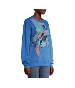 Disney Teen Girls Blue Stitch Mischievous Round Neck Graphic Sweatshirt