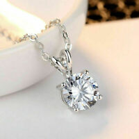 "2.00 Ct Round Cut Diamond 14k White Gold Fn Womens Solitaire Pendant 18"" Chain"