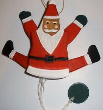 "Wooden 7"" Santa Jumping Jack Pull Toy Ornament"