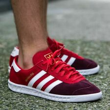 ADIDAS HAMBURG MENS RED LEATHER SUEDE SHOES JEANS CITY BERN 10 GAZELLE S79988
