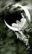 Art Print Fairy Princess Crescent Moon Enchanted Stary Night Sky Magic Stardust