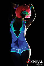 SEXY MICRO BIKINI + BODY TRASPARENTE DANCE RAVE CLUB WEAR BLACK LIGHT ESPIRAL  L
