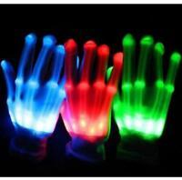 LED Light Gloves Finger Lighting Electro Rave Party Dance Skeleton Halloween