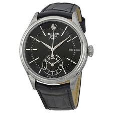Rolex Cellini Dual Time Black Dial 18kt White Gold Mens Watch 50529BKSBKL