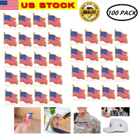 100 pcs Unisex American Flag US Lapel Pin United States USA Hat Tie Tack Badge