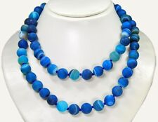 Gorgeous Gemstone Necklace Agate Bright Sand IN Ball Shape Ø-10 MM 88 CM