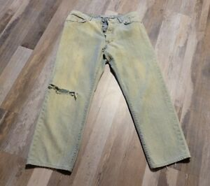 Versace Mens Distressed Jeans Couture 36/50 Made in Italy 27 Inseam Button Fly