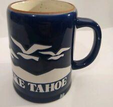 Lake Tahoe Mug Sailboats Seagulls Mountains Stein Blue White Large 14oz