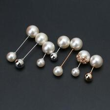 7Pcs Sweater Shawl Clip Double Faux Pearl Brooch Safety Pins Women Clothes c