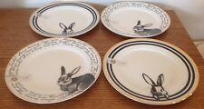 4 Ciroa Easter Bunny Plates Fine China Rabbit Love Spring Dessert Salad New Gold