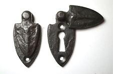 Pair Of Beaten Style Cast Iron Gothic Shield Door Keyhole Escutcheon Plate Cr3