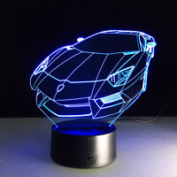 Car 3D Night Light 7 Color Change LED Acrylic Desk Table Light Lamp Gift