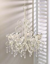 Shabby White Chic Chandelier - CRYSTAL CHIC HOME DECOR - Lights Lighting