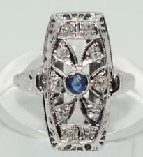 Art Deco Diamond & Blue Sapphire Ring in 18ct white Gold Antique.  Circa 1920's