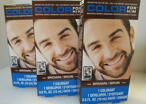 Mens Facial Hair Coloring Gel - Brown - 5 Mins *Lot of 3* New & Sealed