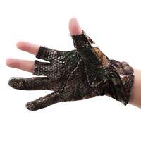 Fingerless Half finger Anti Slip Camo Camouflage Fishing Gloves Outdoor S
