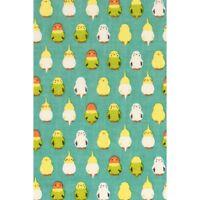 HAMAMONYO Tenugui 'Standing Parakeets /Green'  (Japanese Hand Towel 100% Cotton)