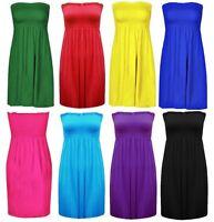 Womens Plus Size Sheering Boobtube Bandeau Strapless Top Vest Dress Size 8-26
