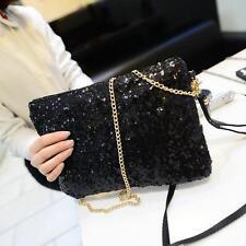 Schwarz Abendtasche Damentasche Pailetten Glitzer Tasche Clutch Handtasche