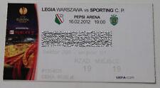 Ticket for collectors EL Legia Warszawa Sporting Lisboa 2012 Poland Portugal