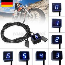 Universal 6 Gang Motorrad Ganganzeige Blau LED Digital Anzeige + 2x Schaltsensor