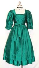"SILK DIRNDL Dress German LONG Oktoberfest Hostess Swing Party GREEN B35"" W28"" S"