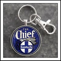 Vintage Railroad Sign Photo Keychain Santa Fe The Chief Railroad RR Train Gift