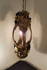 Fab Elongated 70'S Brutalist Torch Cut Brass Pendant Lamp Chandelier