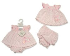 Pink Nursery Time Girls Tiny Baby Dress Button Duckling Premature Pants Set Embroidery 5-8lbs 31 White