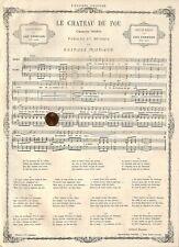 "GUSTAVE NADAUD CHANSON INEDITE "" LA CHATEAU DU FOU "" GRAVURE ENGRAVING 1867"
