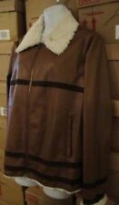 AVON AVIATOR JACKET Leatherlike Zip-Front with Faux-Shearling Collar XL 14/16