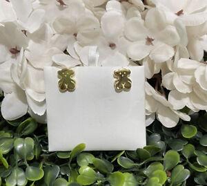 Sweet Dolls vermeil silver bear earrings Gold 925🌿 1.15CM New!