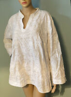 Soiree Women Tunic Top Floral Diamante Size 1X Ivory Exc Cond