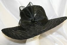 Women's Black Wide Brim Polyester Dress Hat