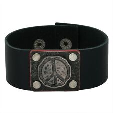 Squiggly Peace Sign Black Leather Cuff Bracelet