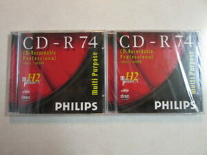 PHILIPS (2) CD-R 74 CD-RECORDABLE PROFESSIONAL 74 MIN 650 MB MULTI-PURPOSE 1-12X