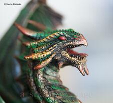"Bronze & Green Fierce Dragon Guardian 9"" Tall Statue Hand-Painted Faux Stone"