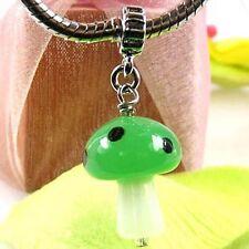 5 pcs vert champignon lampwork verre bracelet européen charmes entretoises perles l # 435