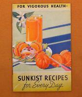 "Vtg Original 1935 booklet ""For Vigorous Health SUNKIST RECIPES for Every Day"""