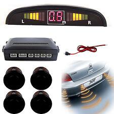 Car Rear Reversing Reverse Parking LED Display 4 Sensor Kit Audio Alarm Black