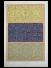 SILKS 11th CENTURY - 1877 LITHOGRAPH - FRANCE, ORNAMENTS, DUPONT-AUBERVILLE