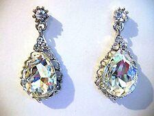 Clear crystal earrings ballroom latin dance Wedding Bride performance pageant
