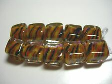 Spectacular! Lampworked Boro Glass Cube Beads 8mm (10)