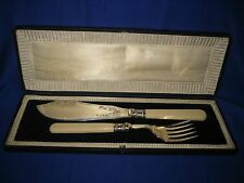Antico/Vintage Pesce server coltello e forchetta H. f&co Sheffield in scatola