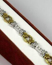 "Ladies Diamond Bracelet 18k Two Tone w/18-Diamonds at 0.72ct total ""CLOSE-OUT"""