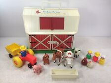 Fisher Price 1986-1990 #2501  Play Family Farm Pink Pig Green Base Red Door