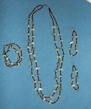Vtg 1970's Turquoise Coral Nugget Necklace, Bracelet, Earrings Hippie Boho Set