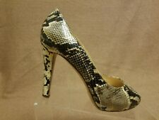 996189b4b828 Kate Spade New York Women Leather Heel Snake Print Gray Peep Toe Shoes Size  8 B