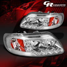 PAIR OF CHROME LED DRL STRIP HALO PROJECTOR HEADLIGHTS LH+RH FOR 97-03 FORD F150