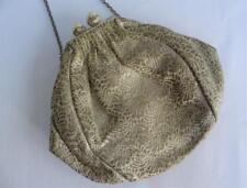 Vintage 1960's Gold Brocade, Faux Pearl & Chrome Framed Evening Purse Bag